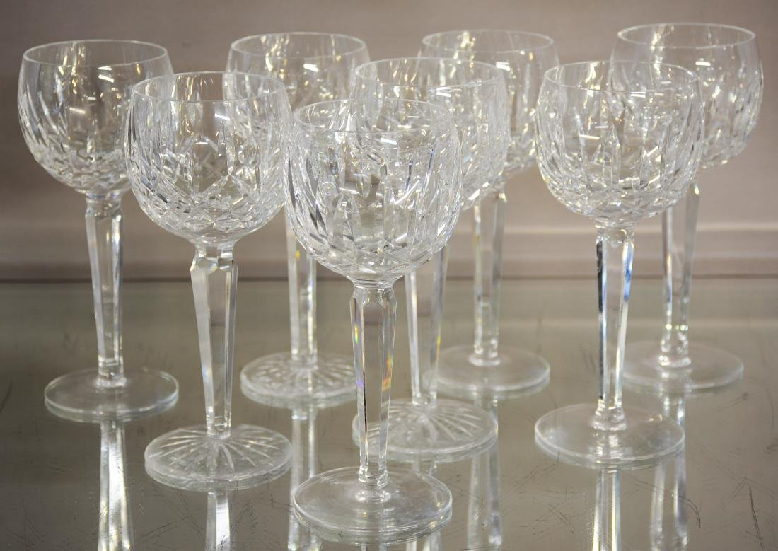 Eight Waterford Crystal Wine Glasses