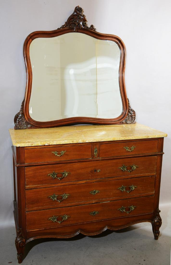 French Louis XV Style Marble Top Washstand