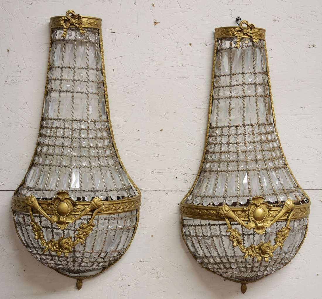 Pr. of French Louis XVI Style Bronze & Crystal Sconces
