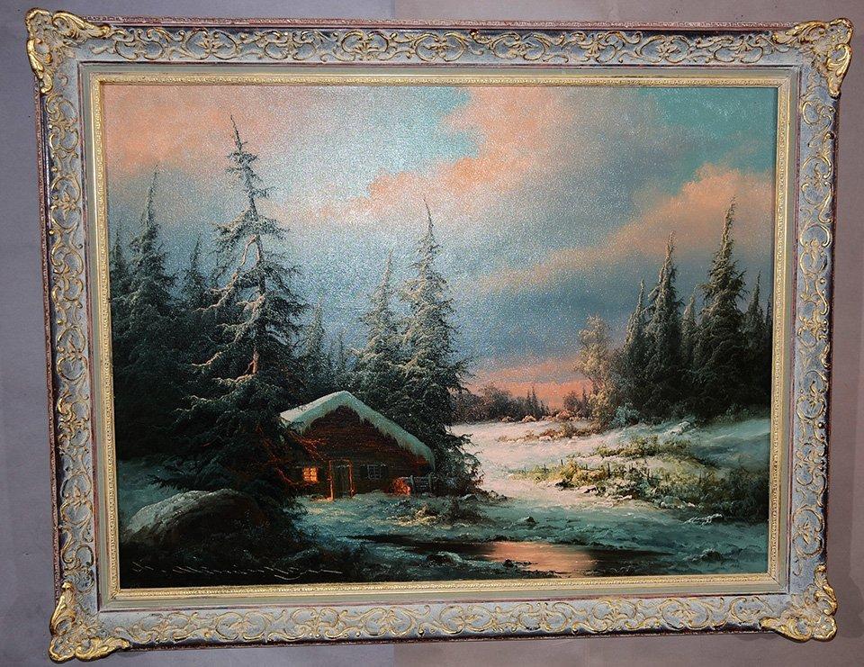 Ludwig Munningen Mountainscape Oil on Canvas