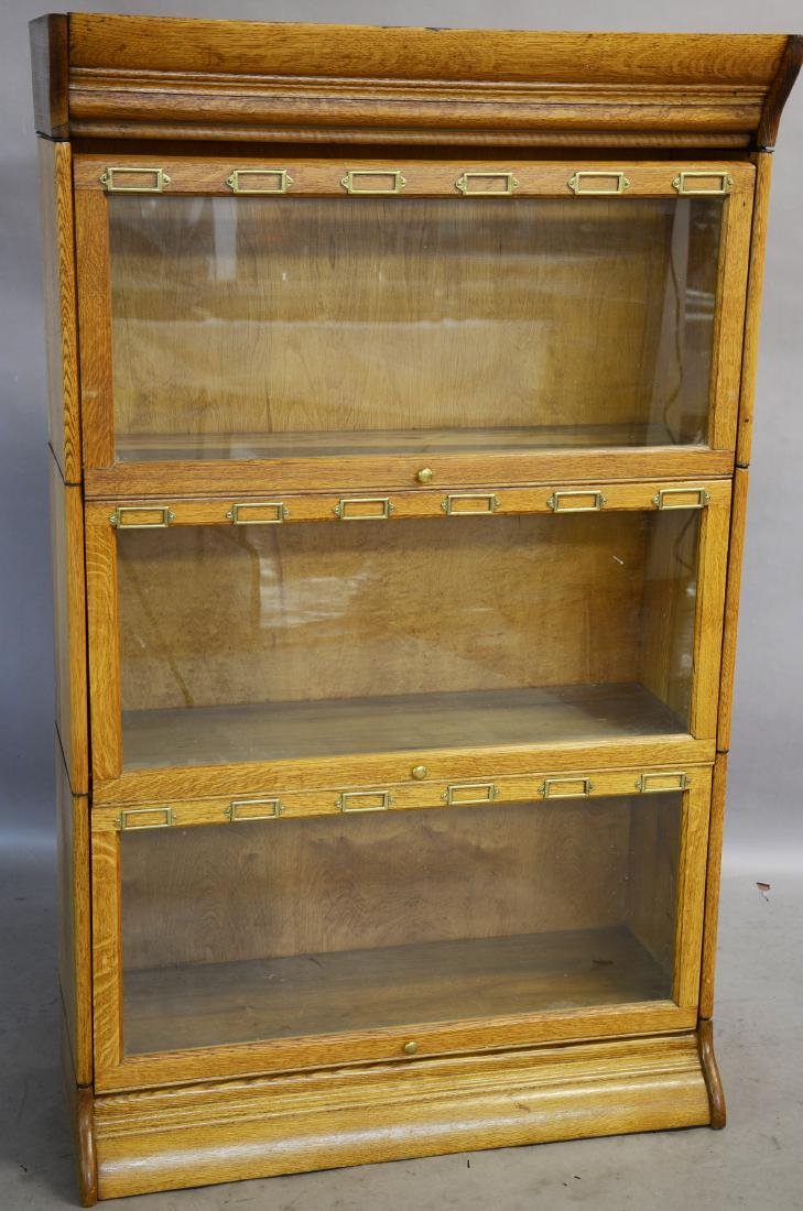 3 Section Oak Turn of the Century Style Bookcase