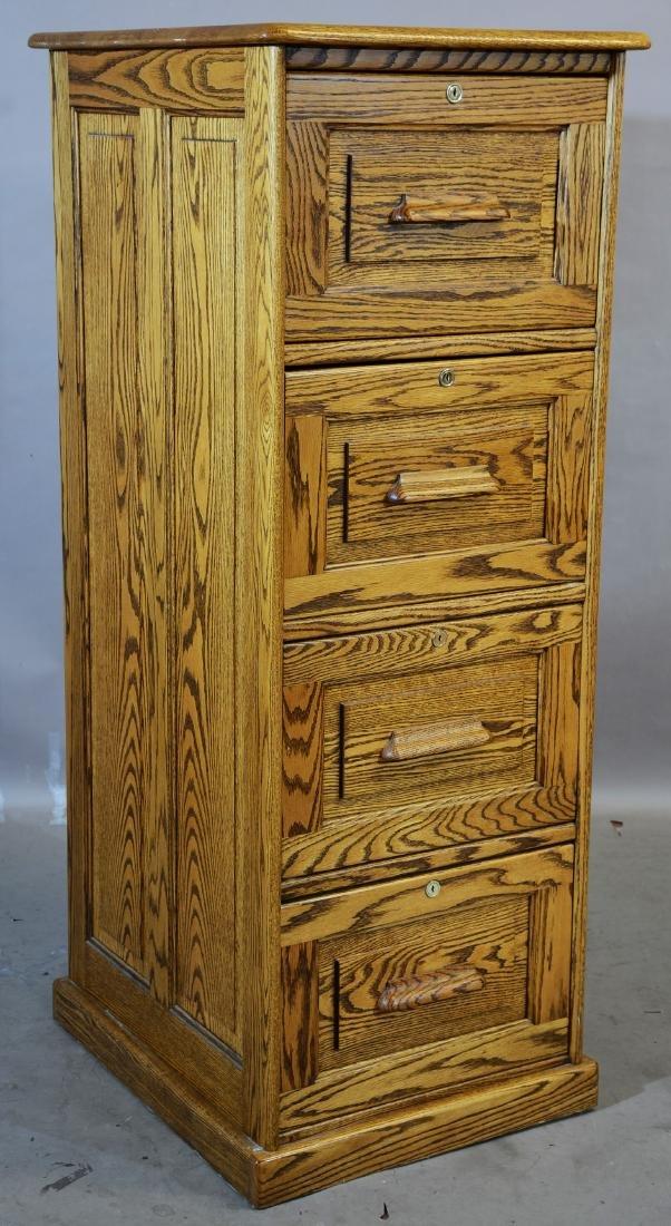 4 Drawer Oak File Cabinet