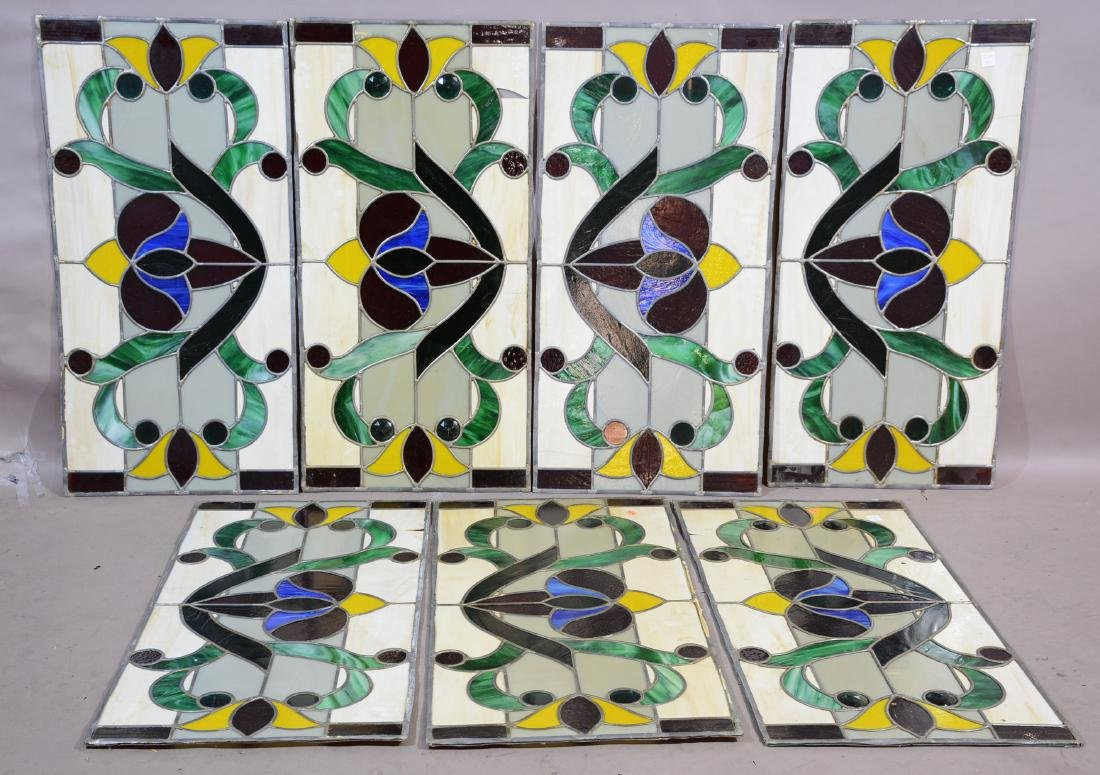 7 Stain Glass Panels with 8 Jewels in Each Panel
