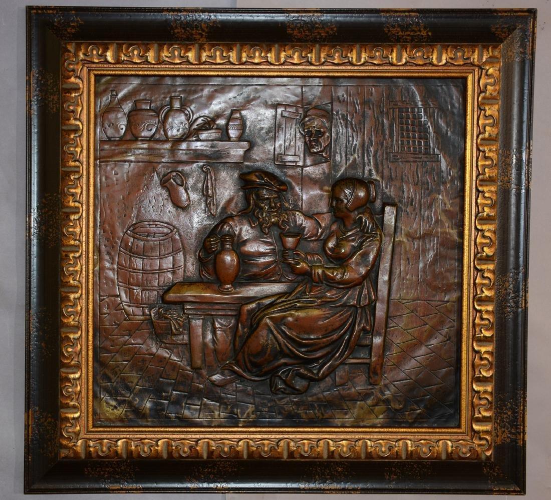 Early Dutch Brass Plaque of Pub Scene