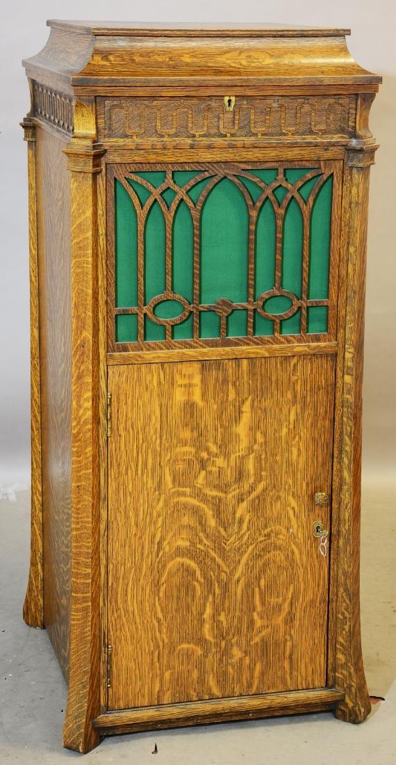 Edison Oak Phonograph & Record Cabinet