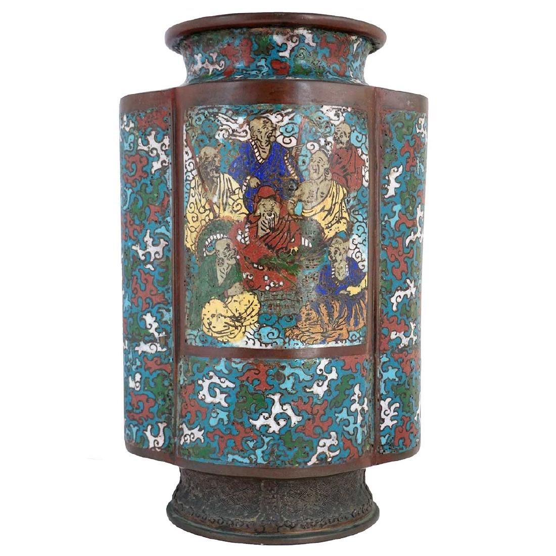 Chinese Champleve Enamel Vase Table Lamp Base