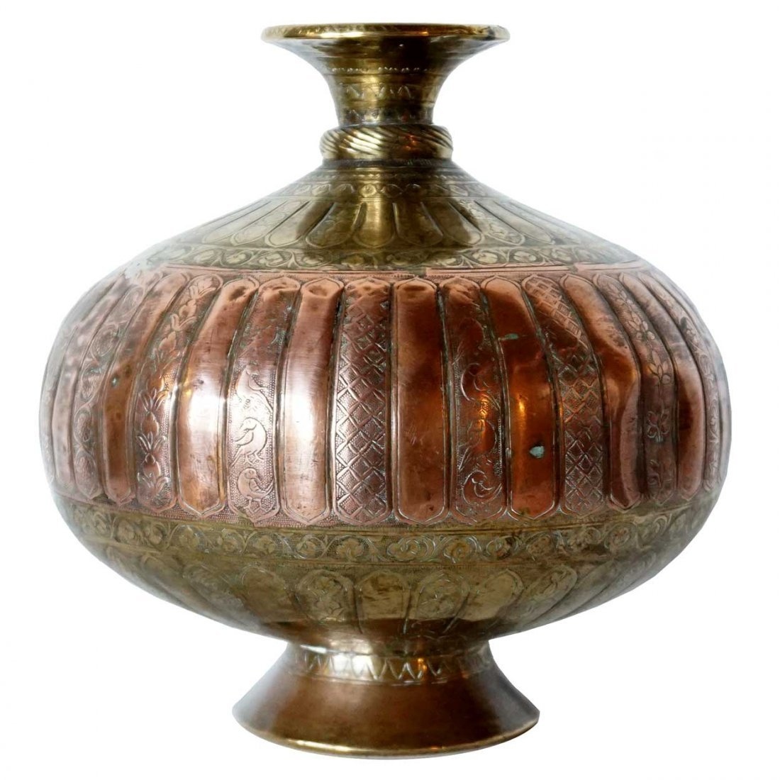 Antique Russian Engraved Brass and Copper Vessel