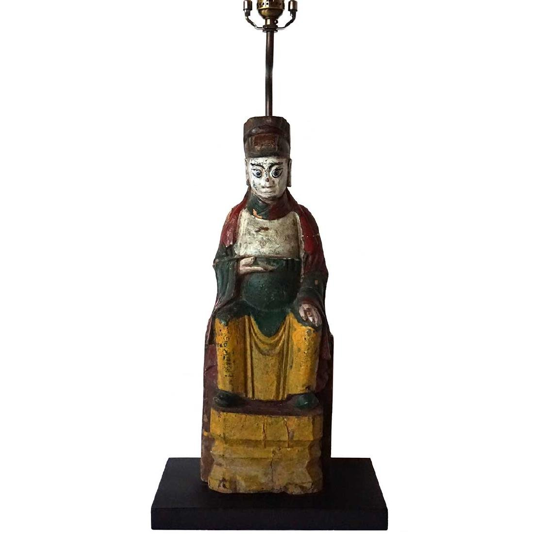 Small Antique Chinese Wooden Buddha as a Lamp