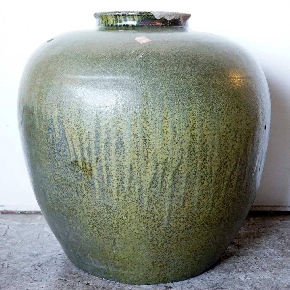 Large Antique Chinese Pottery Celadon Vessel