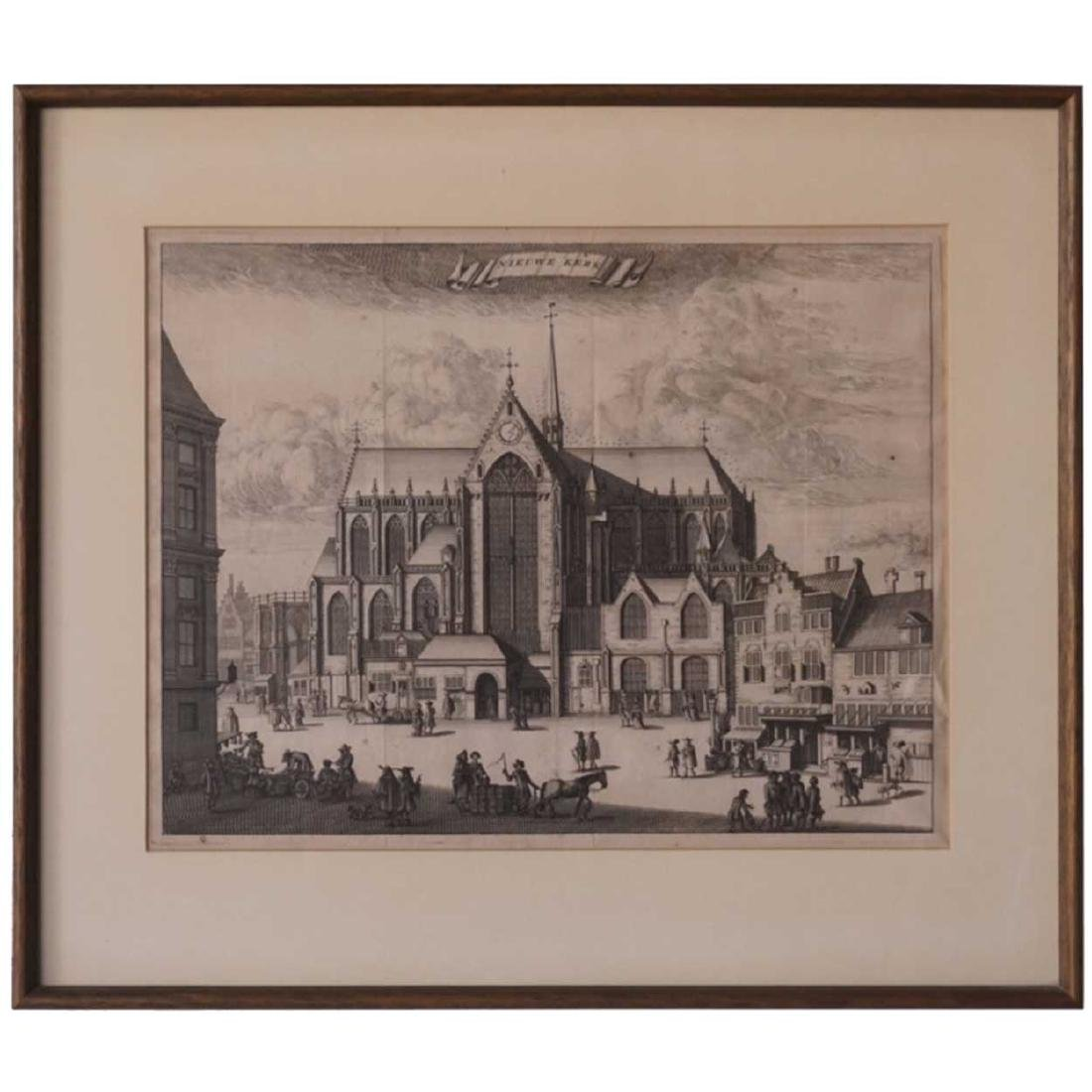 Dutch Engraving, De Nieuwe Kerk, Amsterdam
