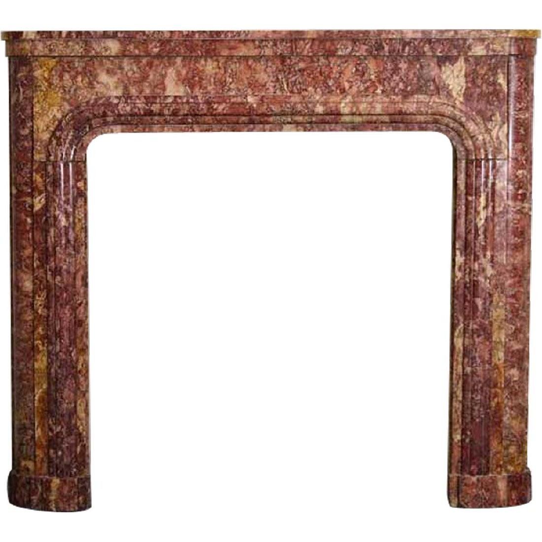 French Art Deco Spanish Brocatelle Marble Fireplace