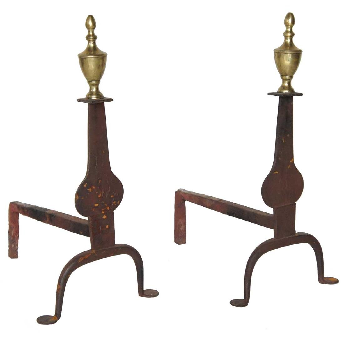 Pair English Georgian Forged Iron & Brass Andirons