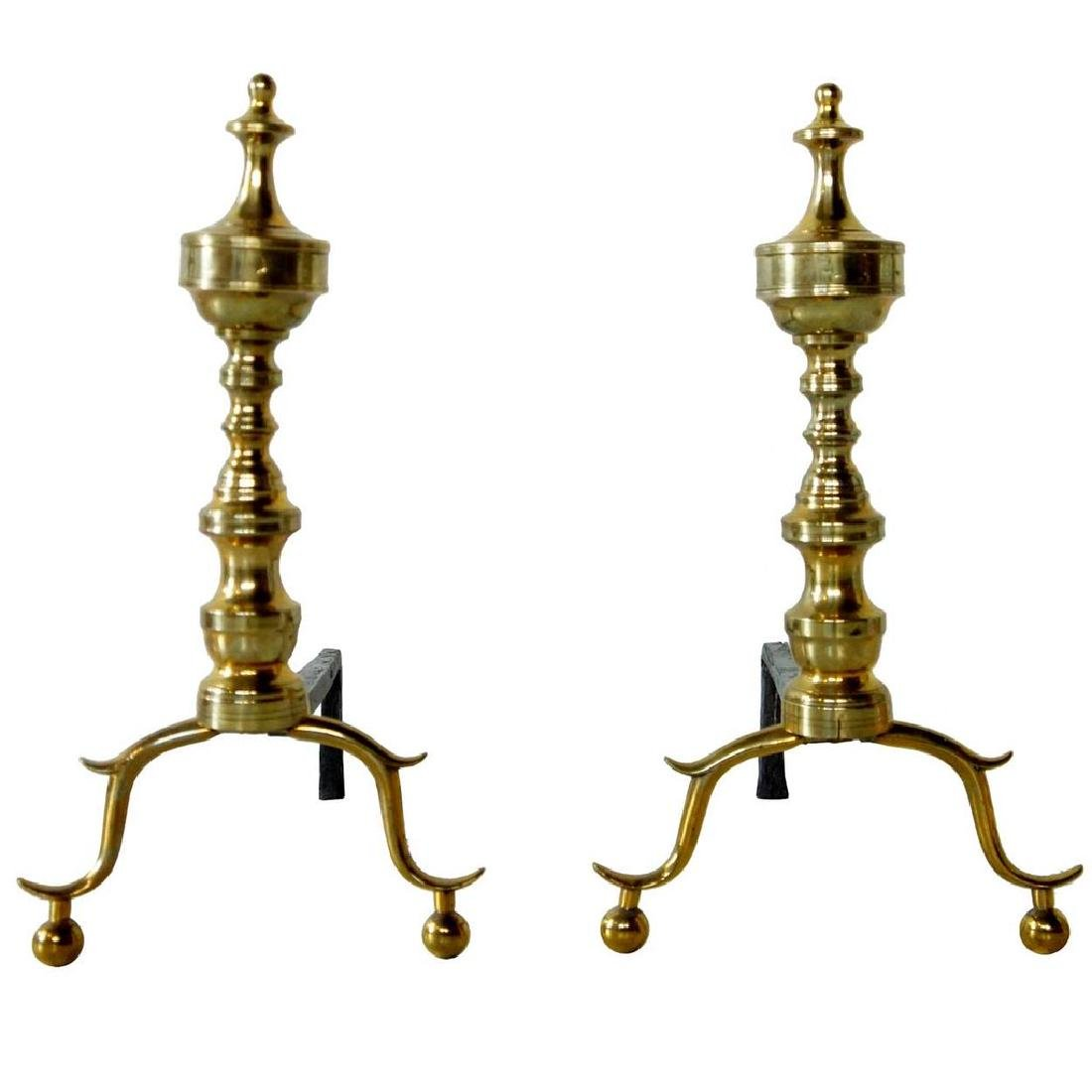Pair American Chippendale Brass and Iron Andirons
