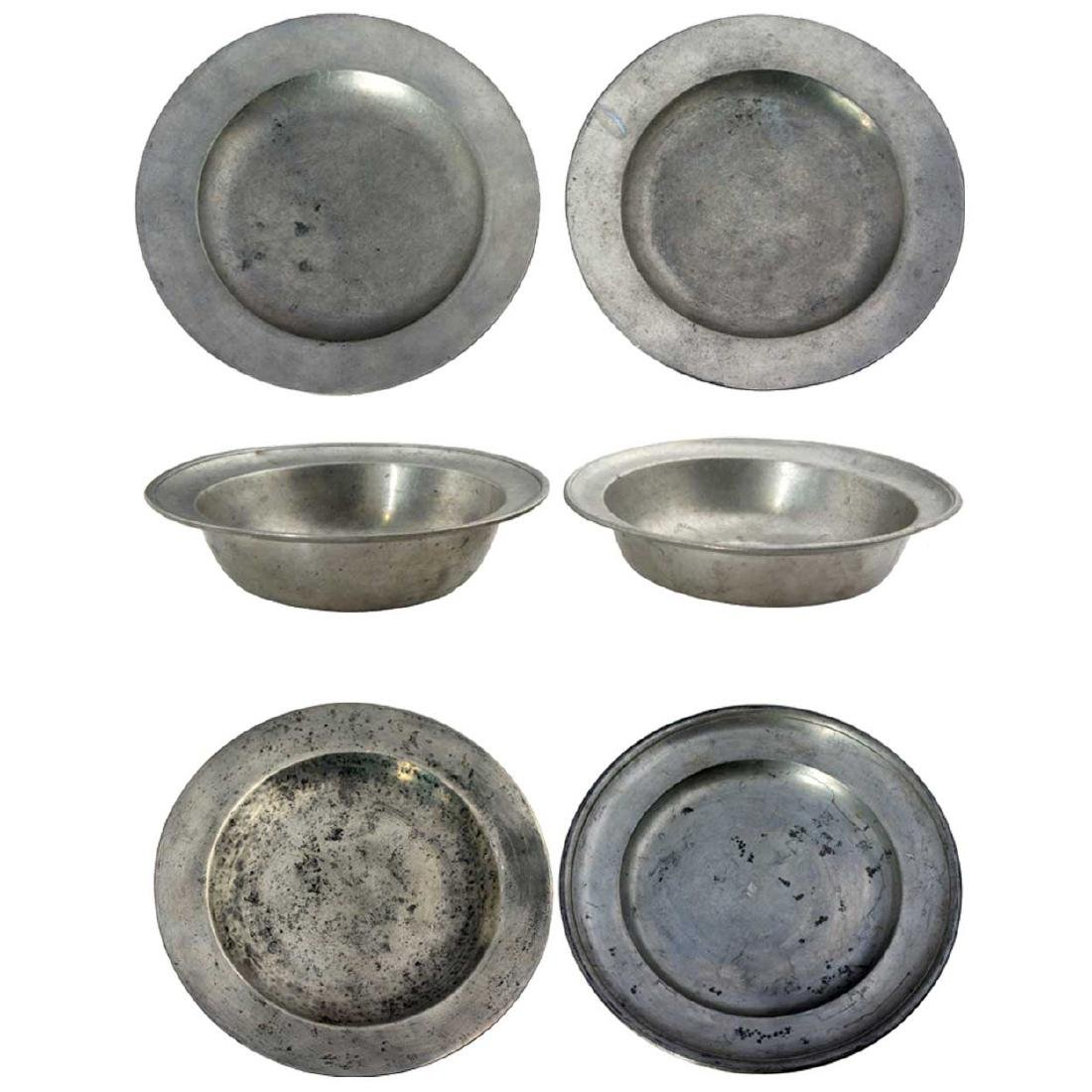 6 Antique Pewter Bowls and Plates