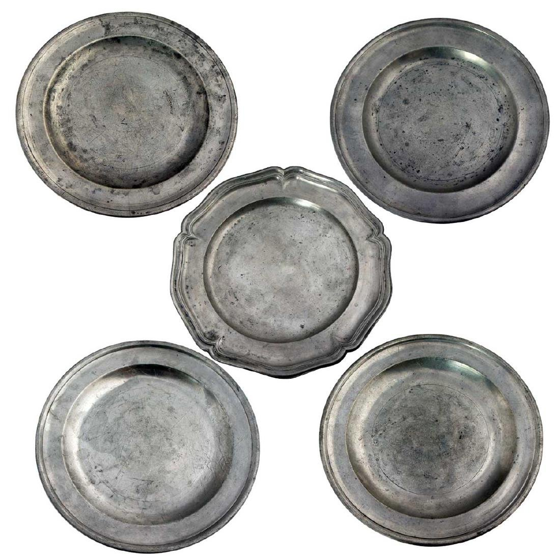 5 Antique European and American Pewter Plates