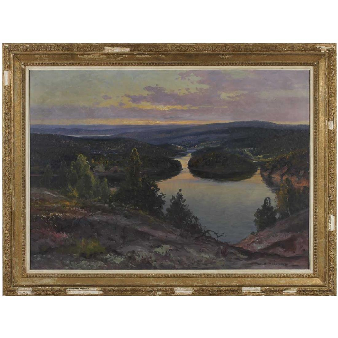 CARL BRANDT Large Oil Painting, Coastal Landscape