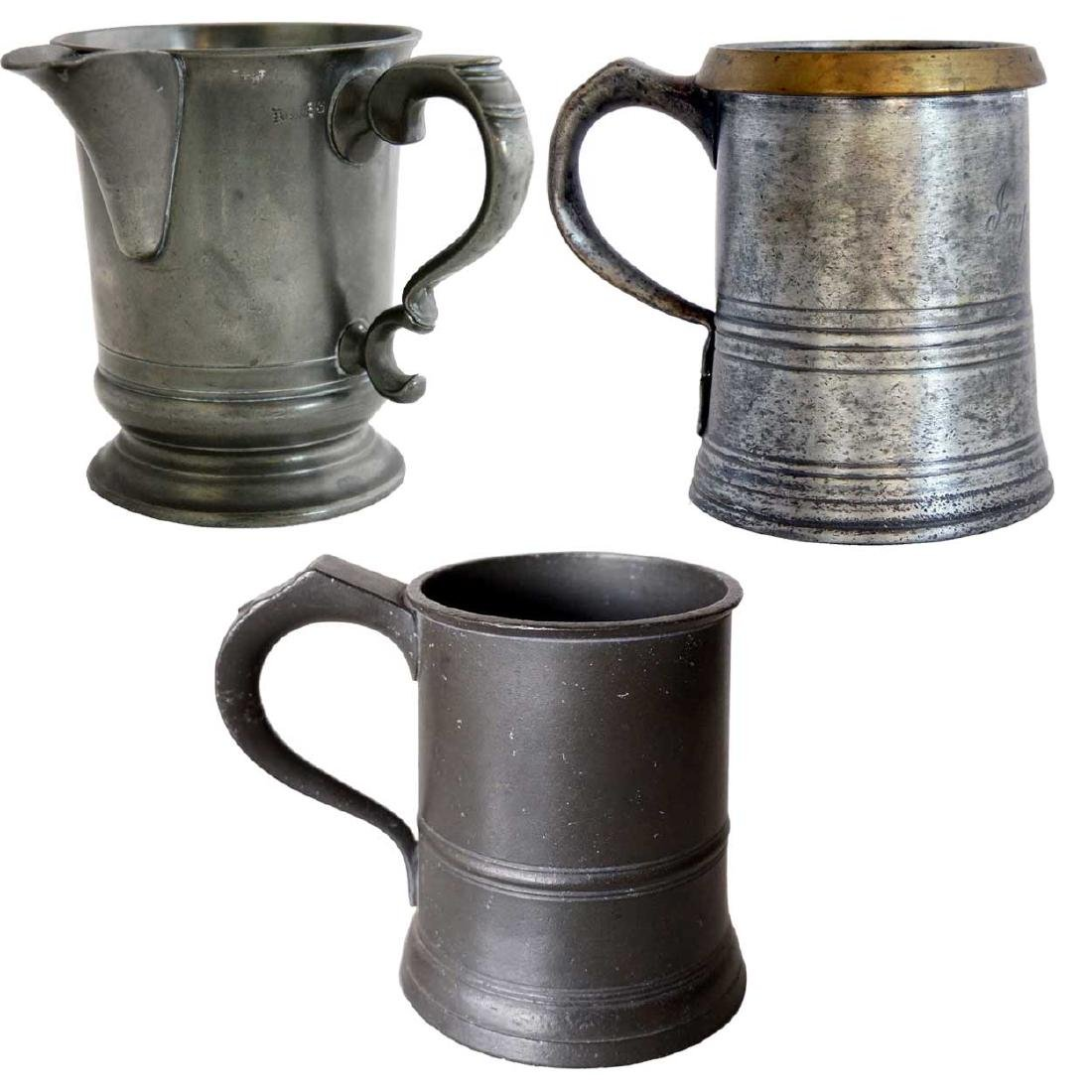 Three English Victorian Pewter Tavern Mugs