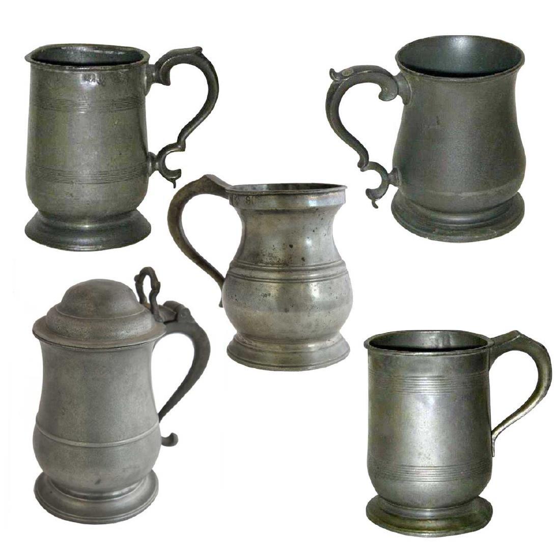 Five English Pewter Tavern Mugs and Tankards