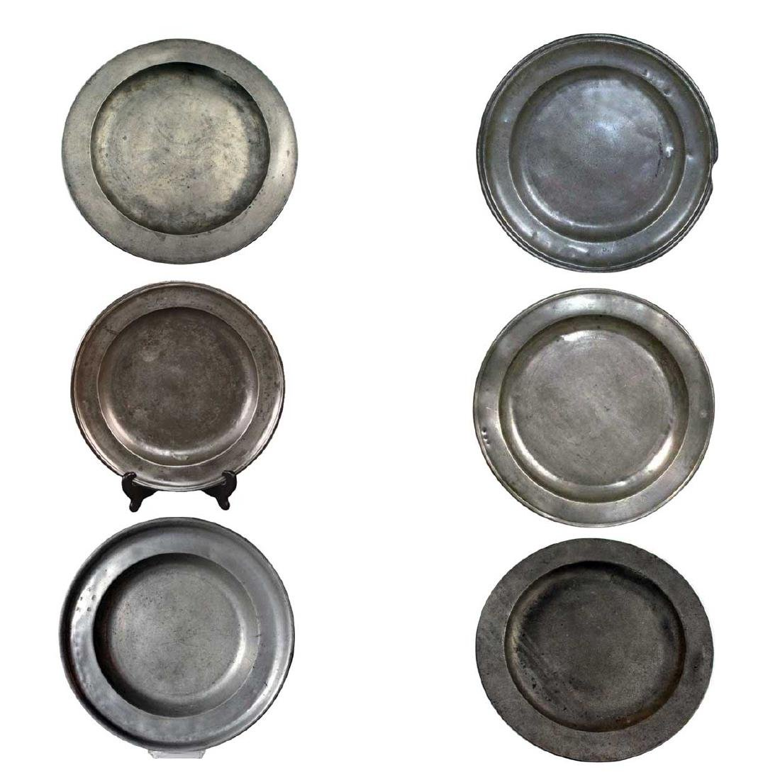 Six Large Antique European Pewter Charger Plates
