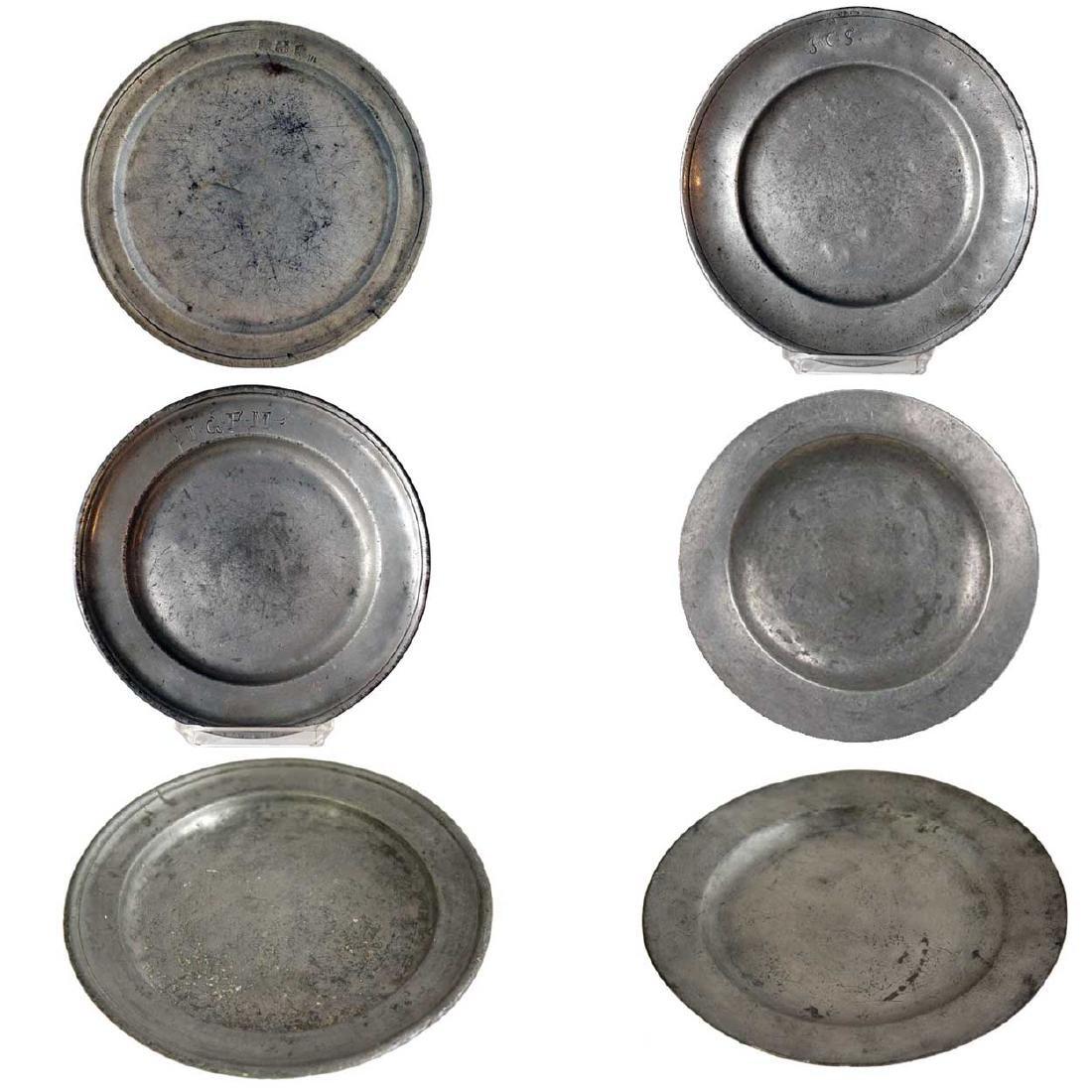 Six Antique European Pewter Plates
