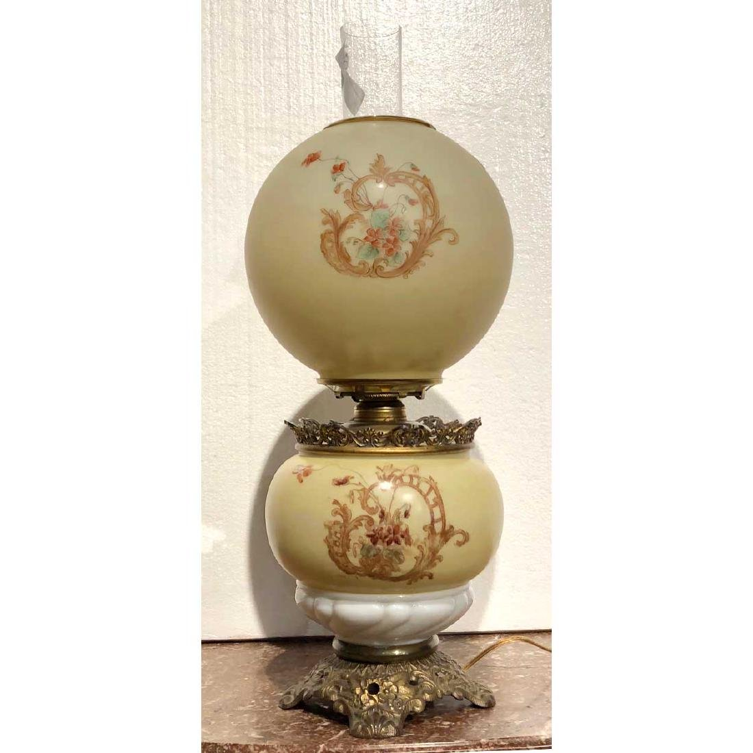 American Victorian Enamel Glass Gone with the Wind Lamp