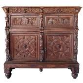 Antique Flemish Baroque Carved Oak Sideboard Cabinet