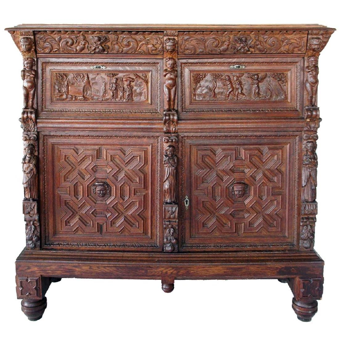 Antique Flemish Baroque Carved Oak Sideboard Cabinet