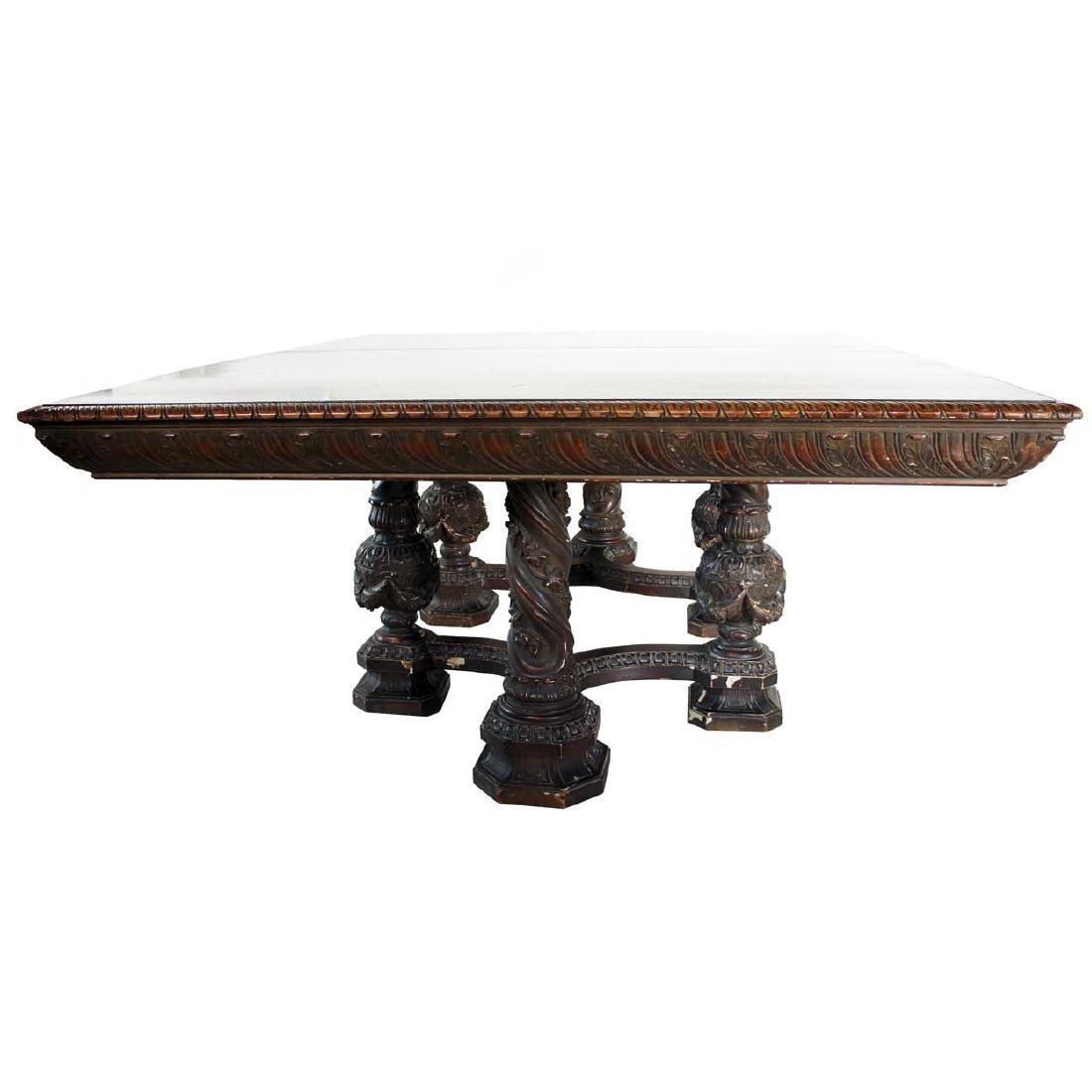 American Renaissance Revival Oak Extending Dining Table