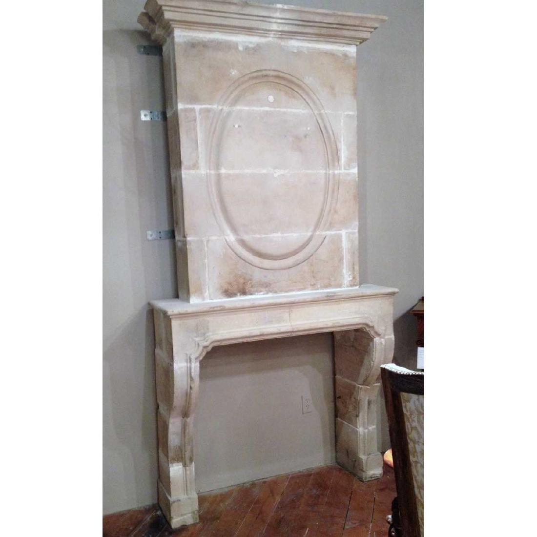 French Louis XV Limestone Trumeau Fireplace Surround