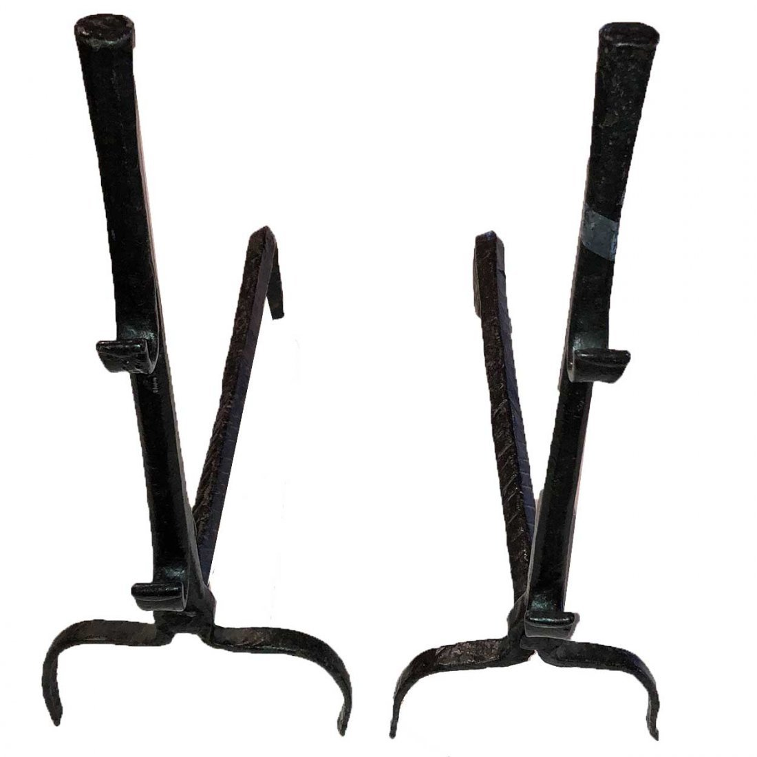 Pair of American Hand Forged Iron Fireplace Andirons