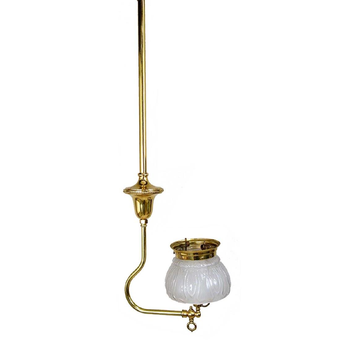 American Victorian Converted Gas Brass Pendant Light