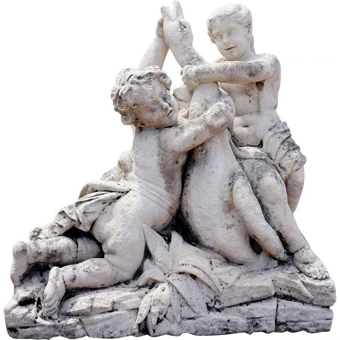 Large French Limestone Statue, Cherubs Wrestling Goose