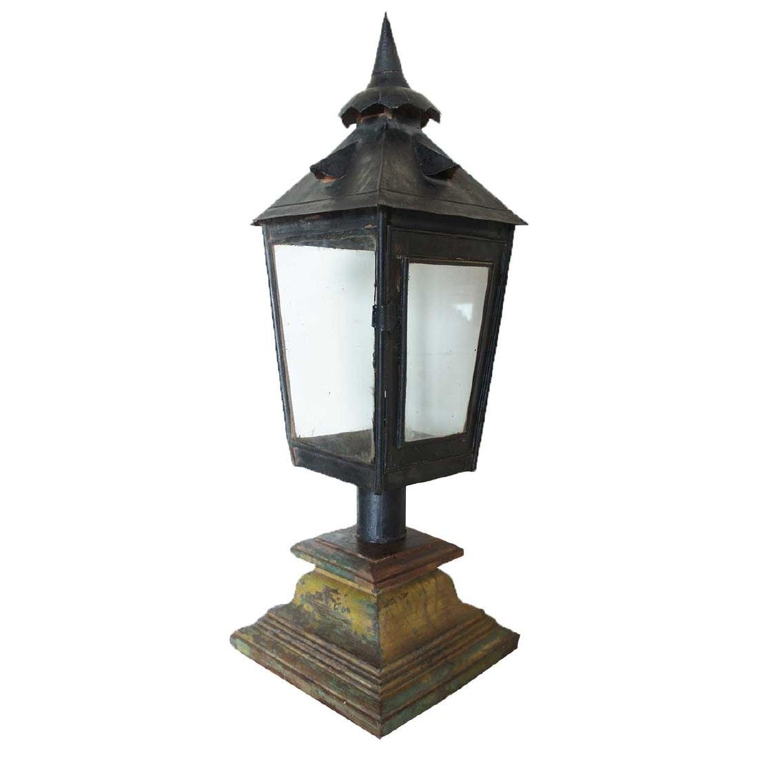 Anglo Indian Black Toleware Post Lantern on Stand