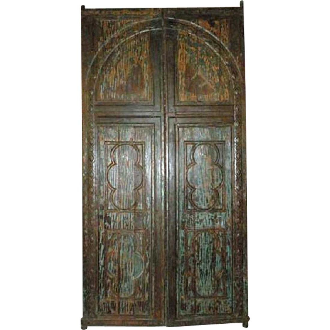 Large Anglo Indian Painted Teak Double Doors