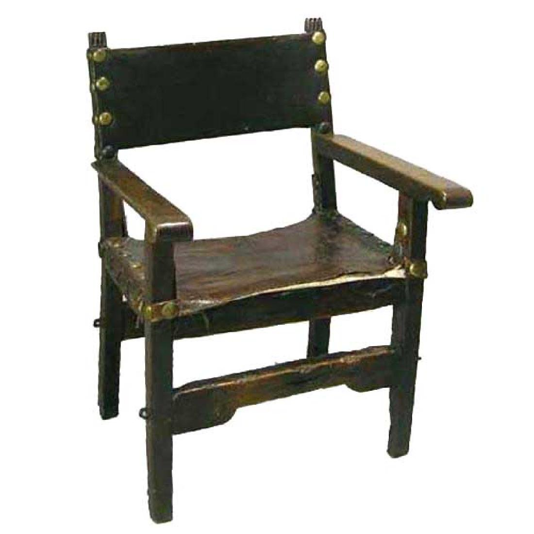 Spanish Baroque 17th century Leather & Walnut Armchair