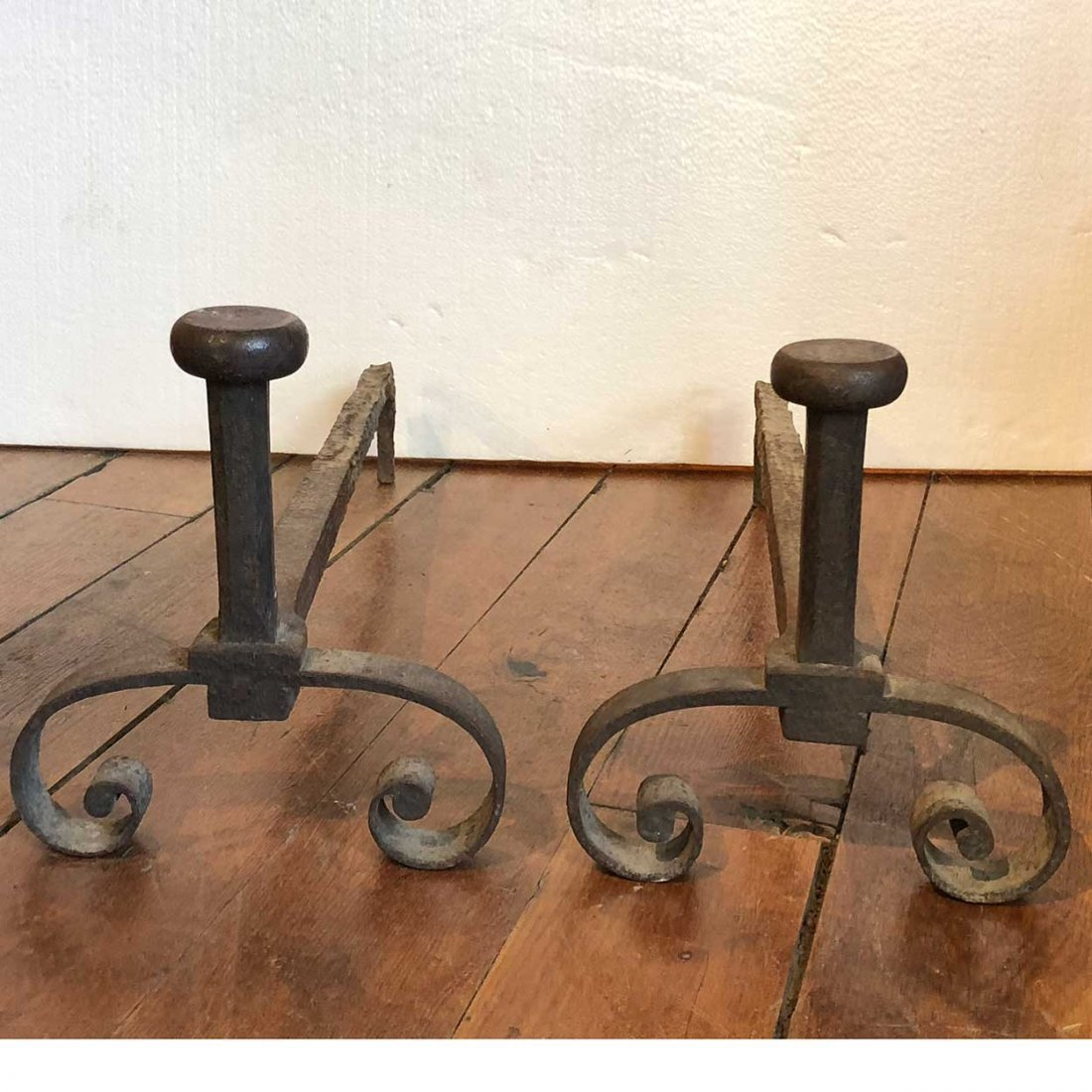 Pair of French Provincial Iron Fireplace Andirons