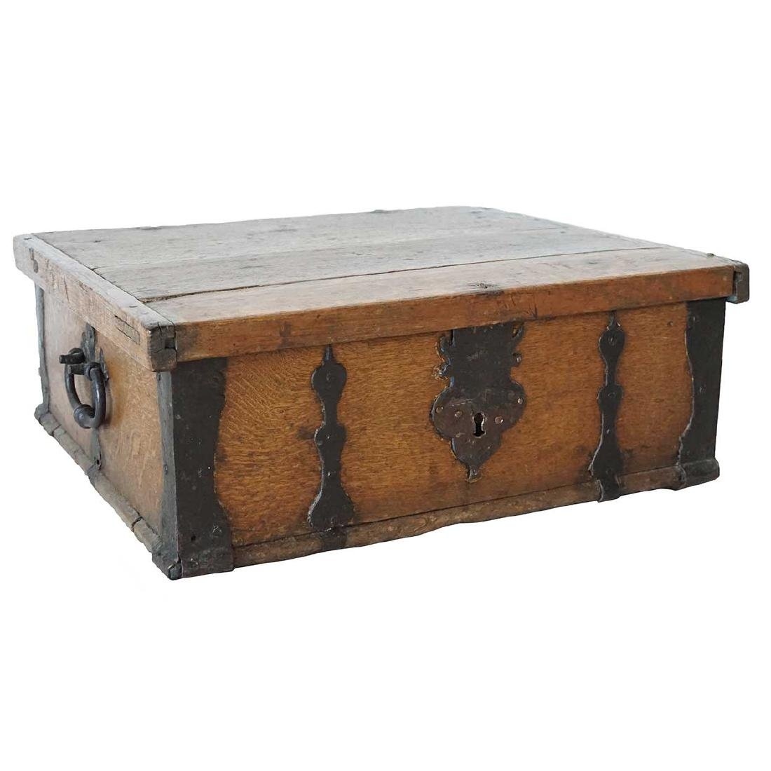 Large Swedish Baroque Iron Mounted Oak Box