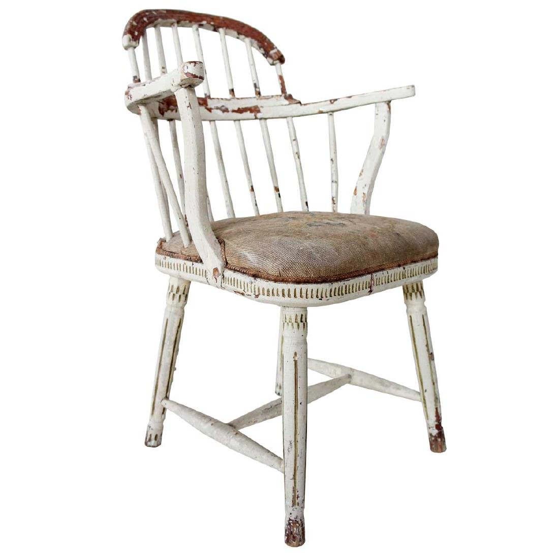 Swedish Gustavian Painted Pine & Birch Armchair