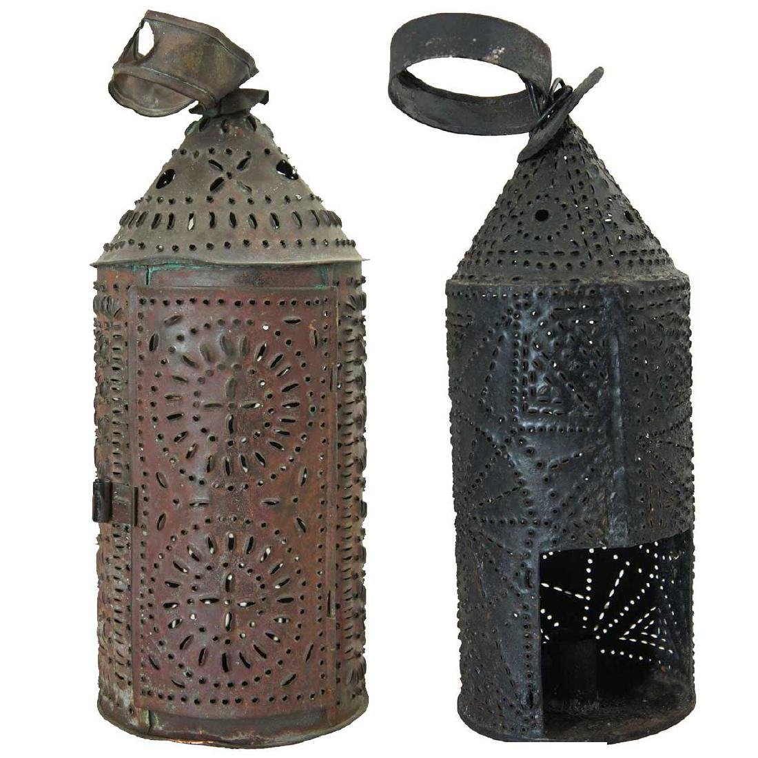 2 American Punched Tin Toleware One-Light Lanterns