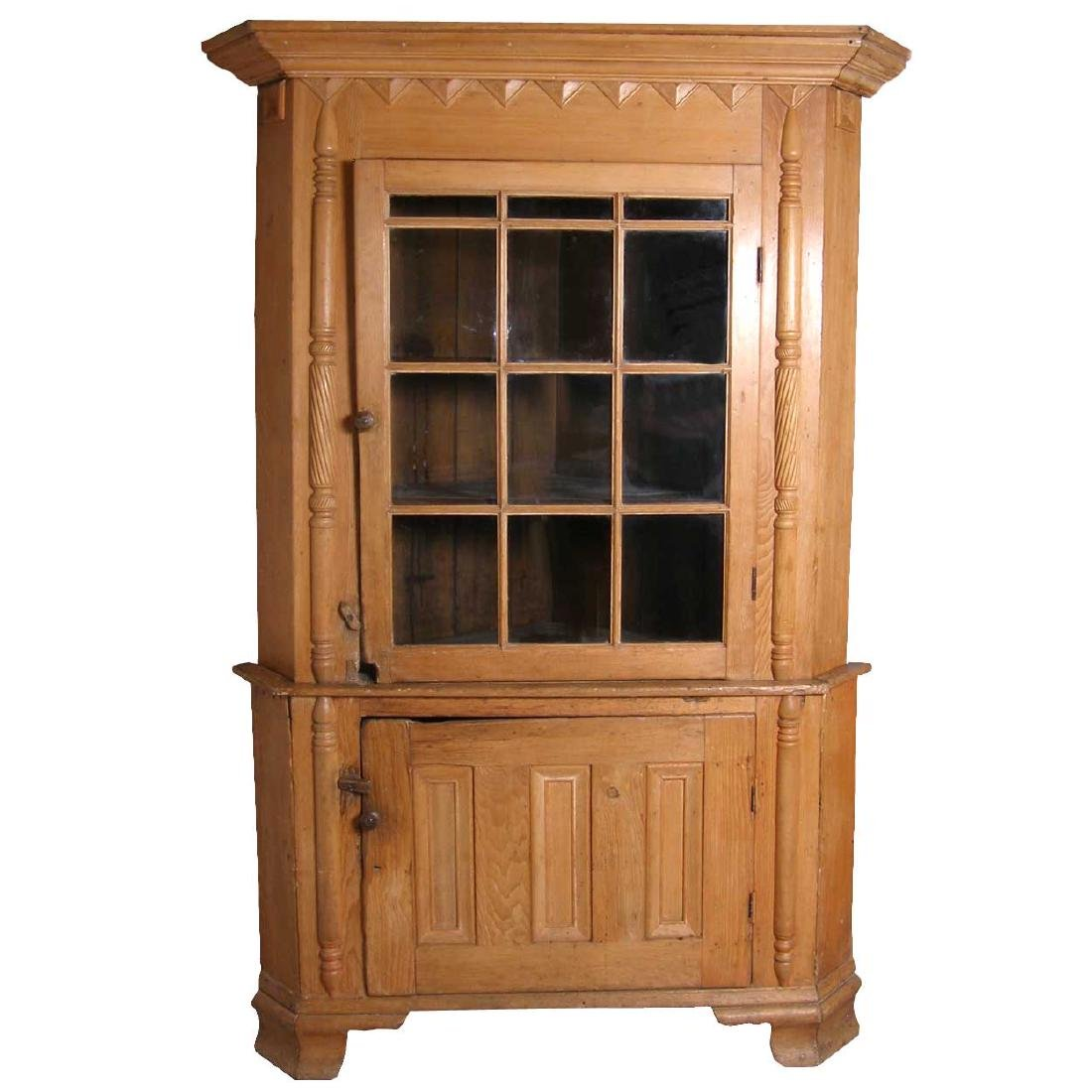 Important American Chippendale Pine Corner Cabinet