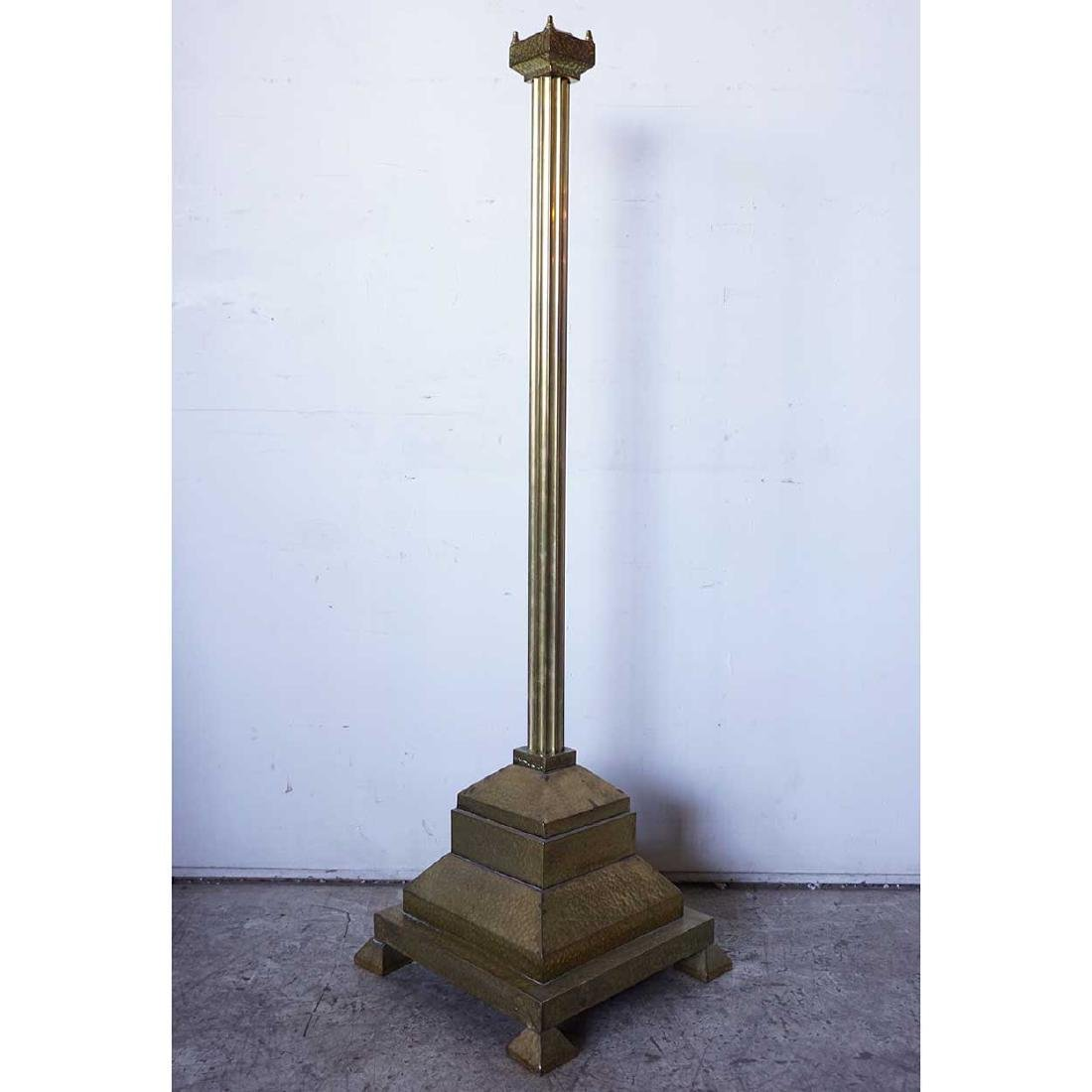 Antique Arts and Crafts Hammered Brass Floor Lamp