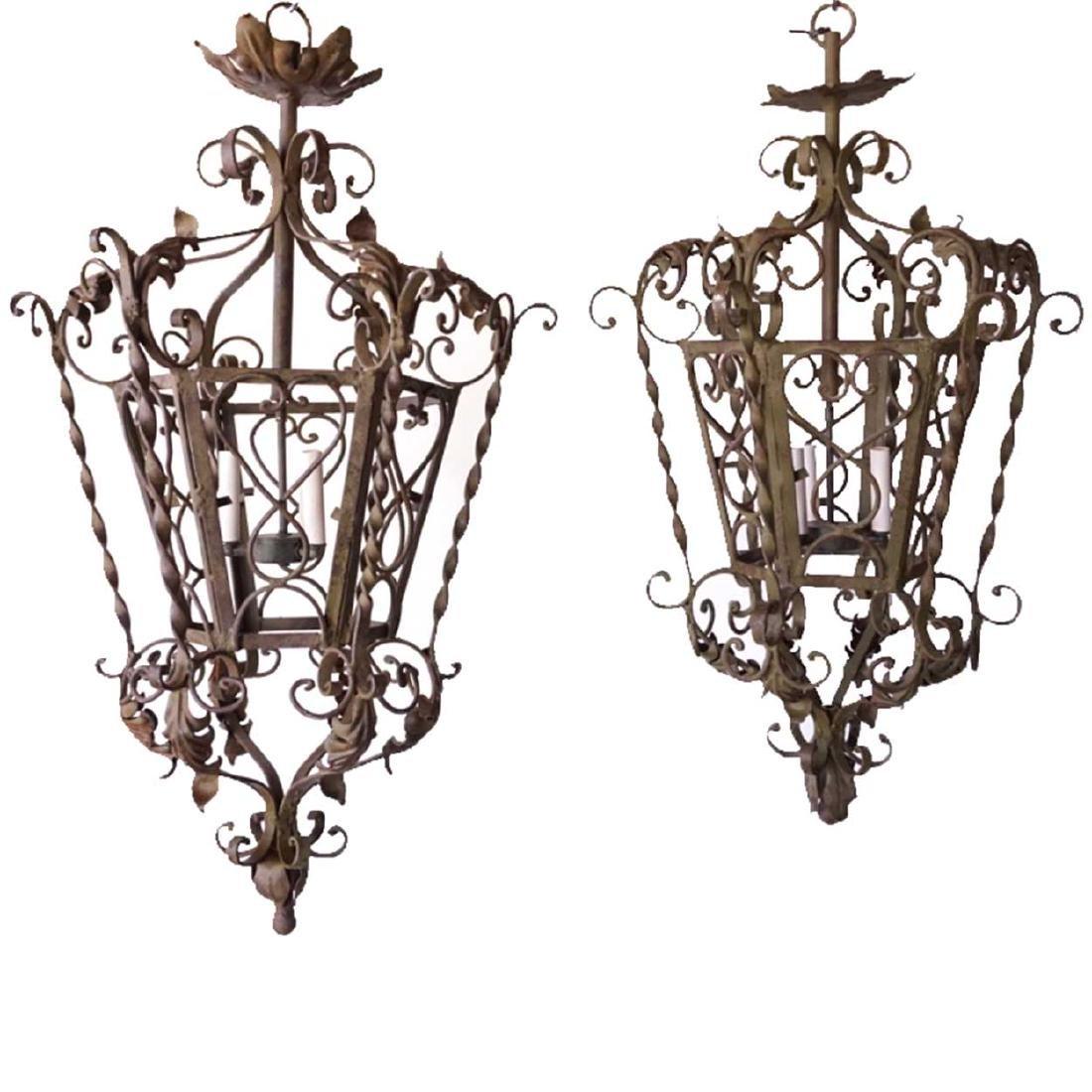 Pair Spanish/French Iron 3-Light Hanging Lanterns