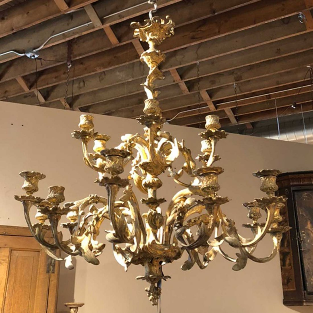 French Louis XV Style Bronze 18-Light Chandelier