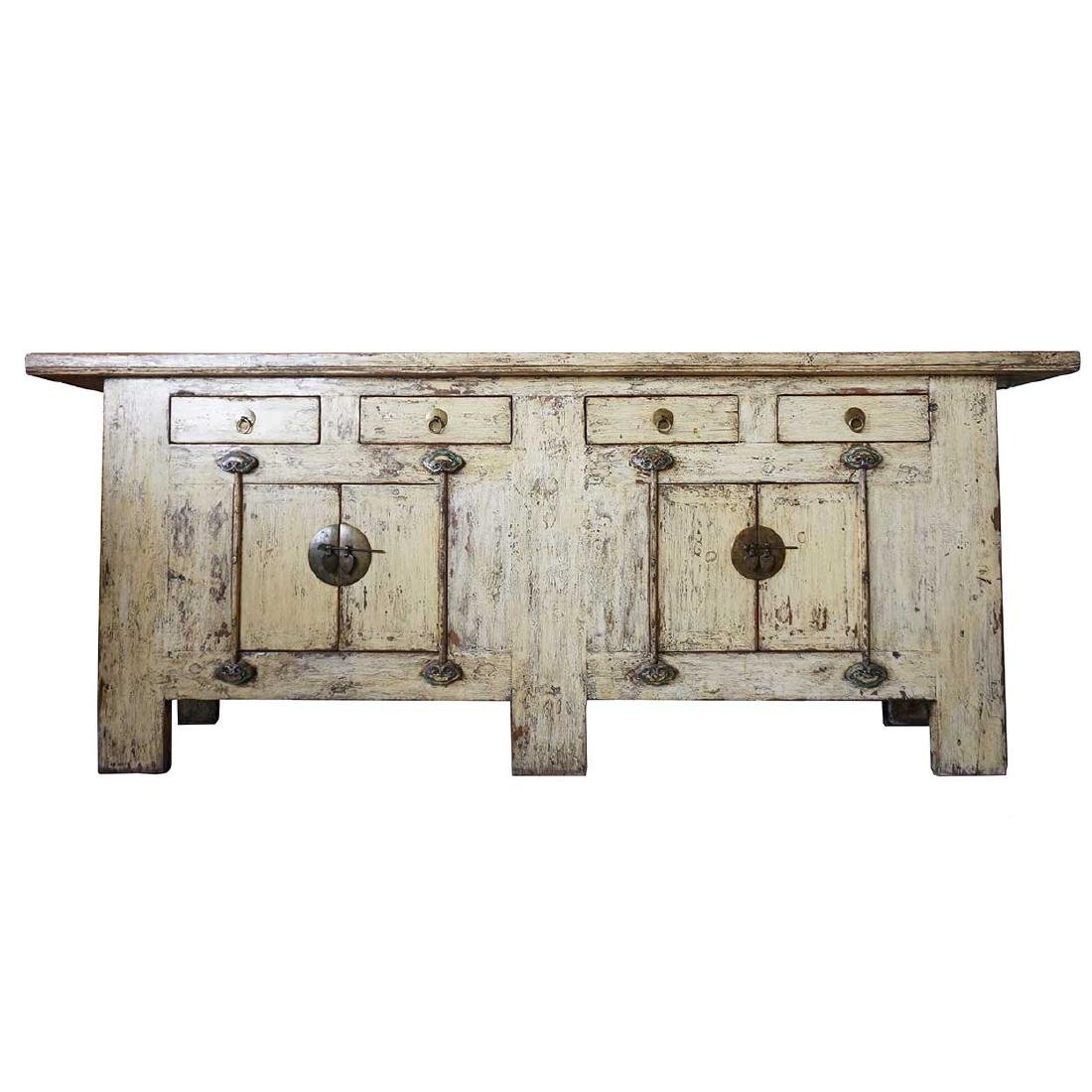 Long Chinese Yellow Lacquered Pine Sideboard Cabinet