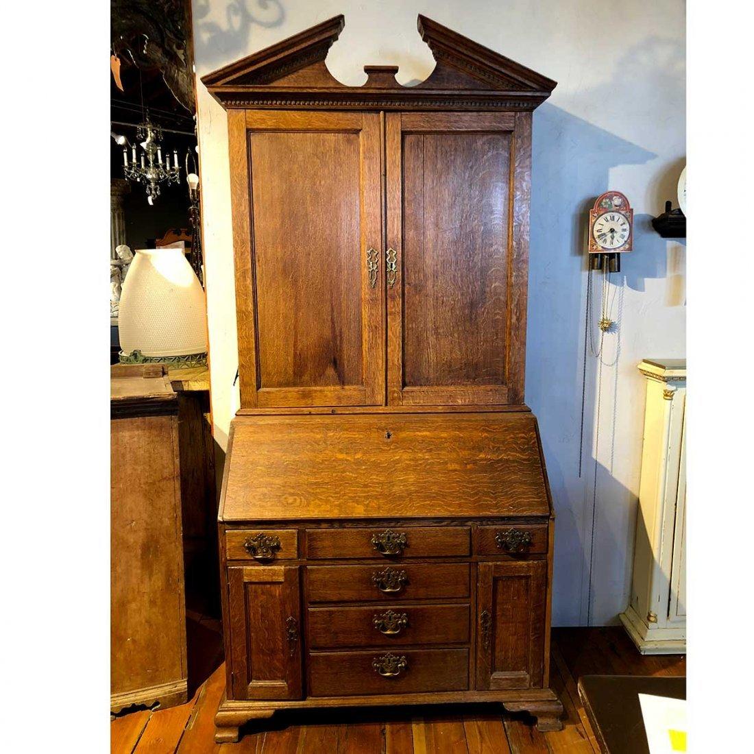 English Chippendale Oak Secretaire Bookcase