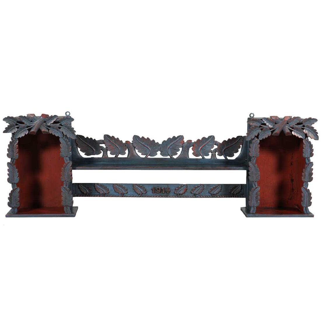 Antique German Black Forest Painted Pine Wall Shelf