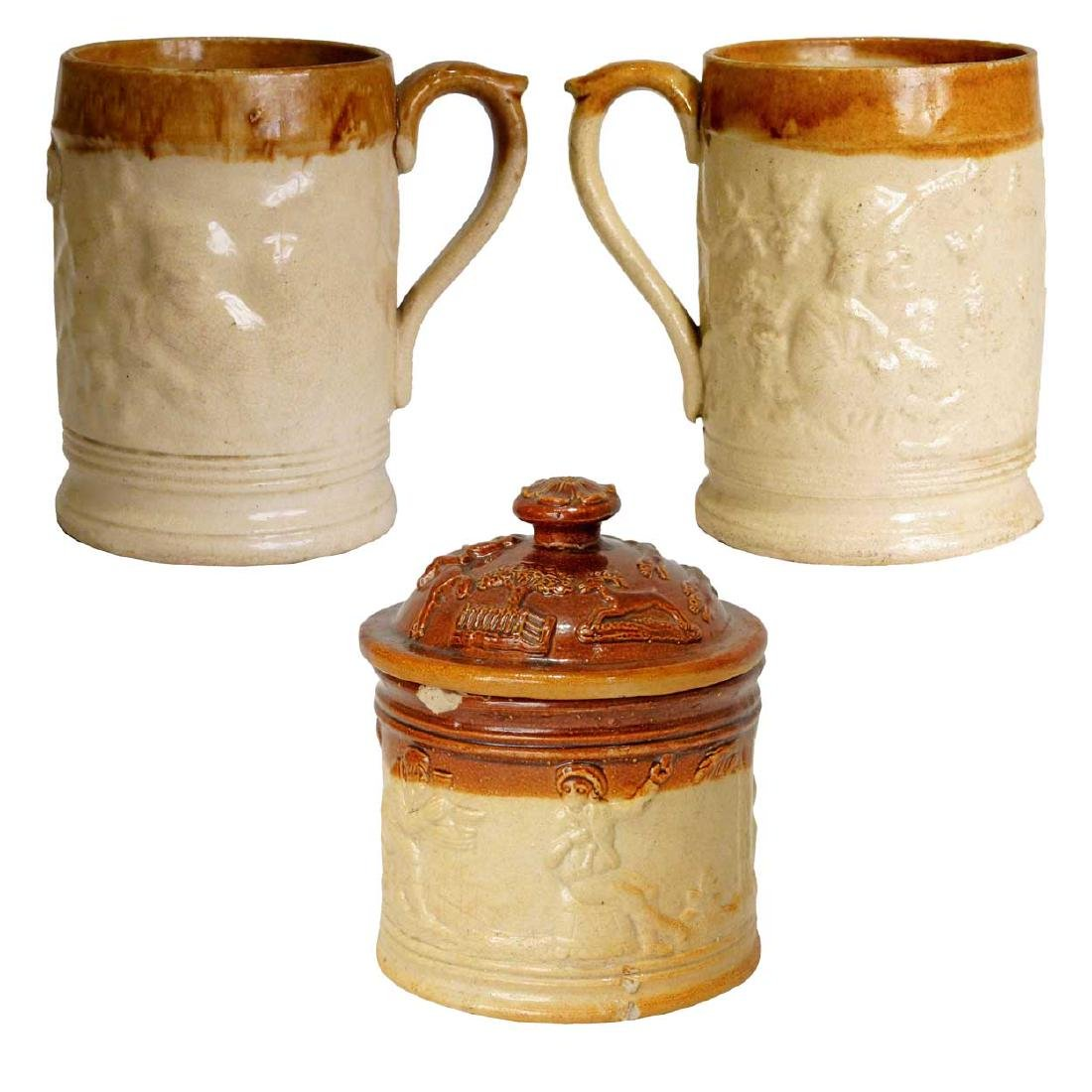 English Stoneware Tobacco Jar & Lambethware Mugs