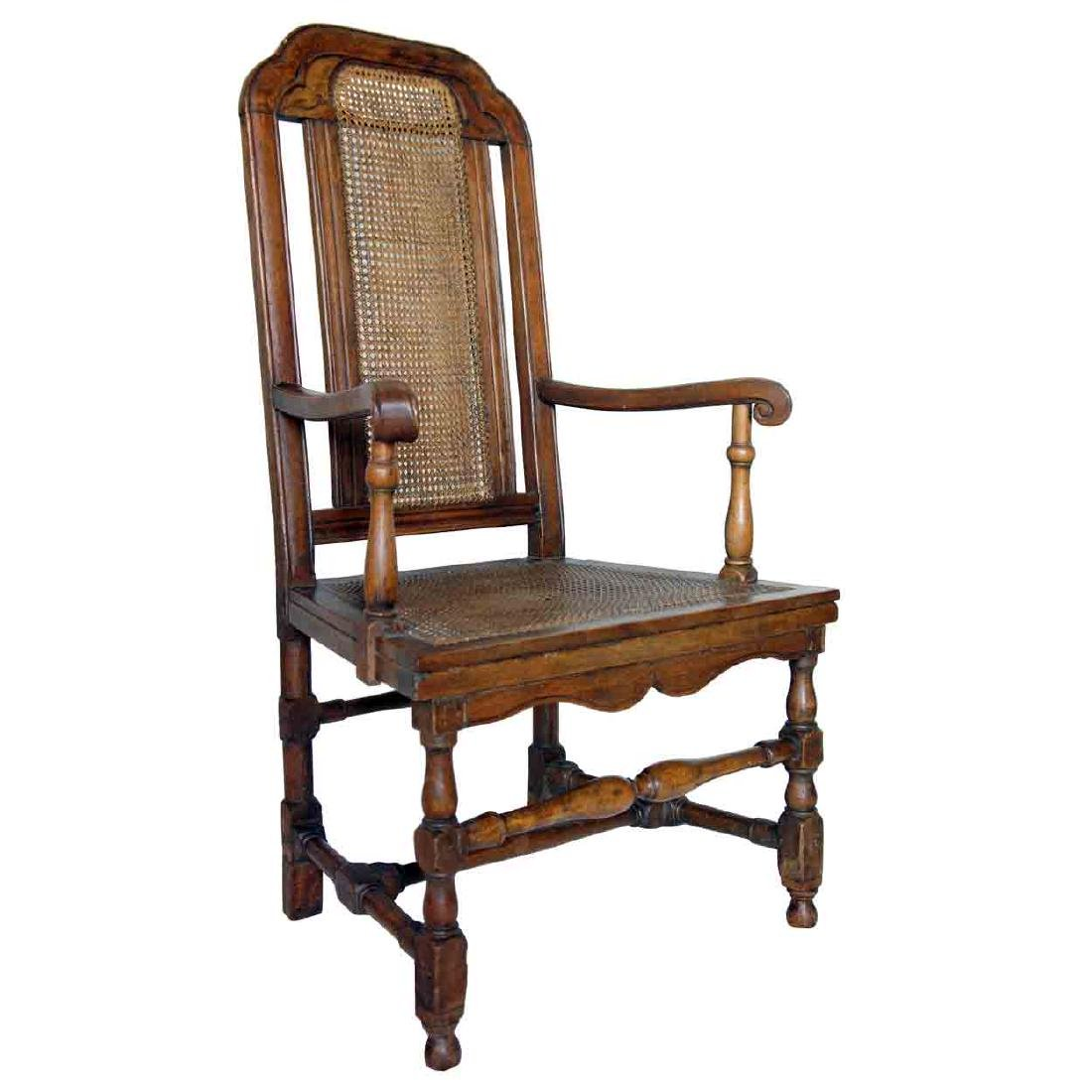 English Queen Anne Beechwood Caned Open Armchair
