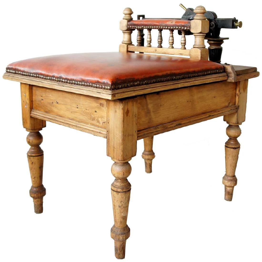 Rare English Pine and Leather Jockey Scale Stool