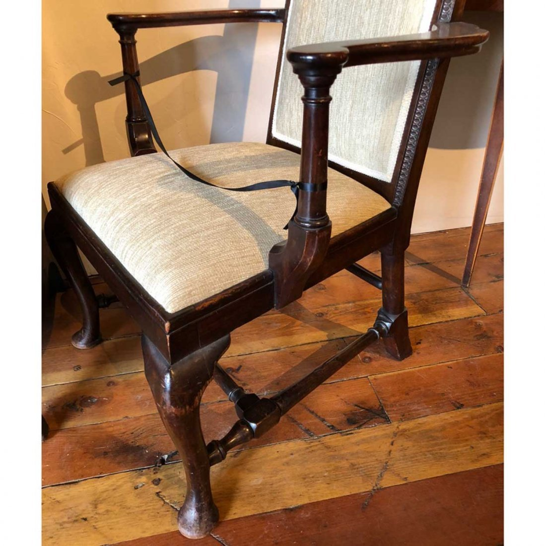 English Queen Anne Style Mahogany Upholstered Armchair - 10
